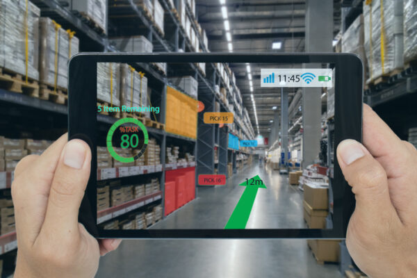 smart retail concept, A customer can check what data of real time insights into shelf status which report on a tablet from artificial intelligence(ai) smart glasses while scanning goods, price
