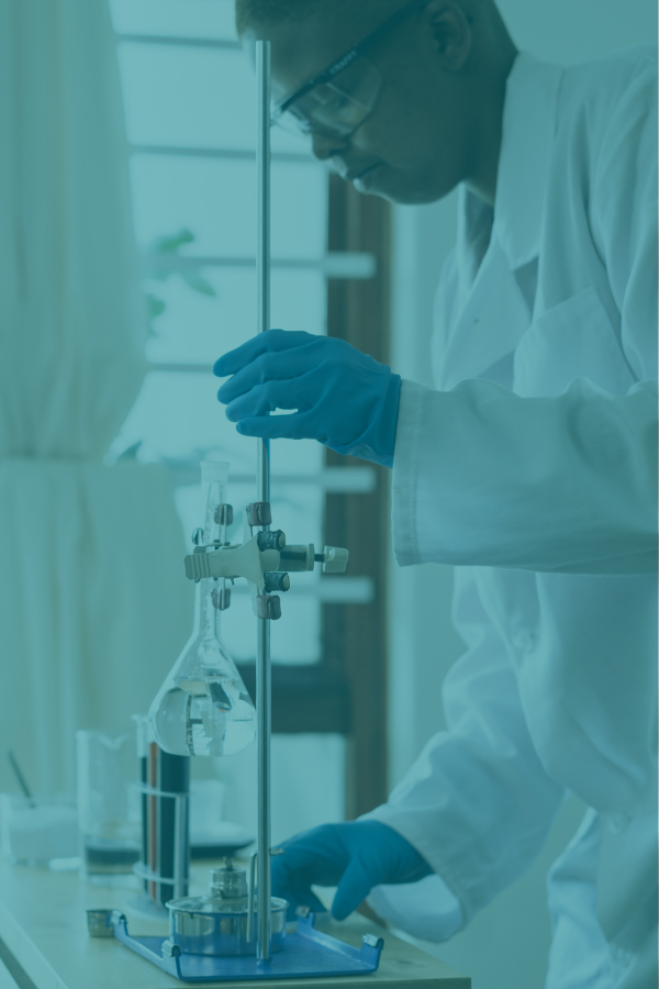 Health market research campaign featuring a lab technician filling beakers